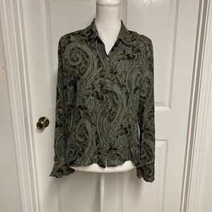 Jones New York Blouse Size 10. 100% Silk